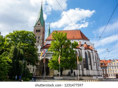 Cathedral of the city Augsburg at blue sky Bavaria Germany