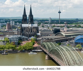 Cathedral in Cologne, Germany, aerial view
