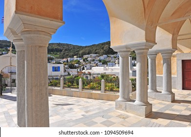 Cathedral columns and Lefkes old town, Greece