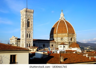 The cathedral complex, in Piazza del Duomo, includes the Baptisteryand Giotto's campanile. These three buildings are part of the UNESCO World Heritage Sitecovering the historic centre of Florence.