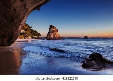 Cathedral Cove at sunrise, Coromandel Peninsula, New Zealand