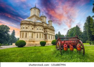The Cathedral of Curtea de Arges, Romanian Orthodox Monastery. Curtea de Arges, Landmark of Wallachia. Romania