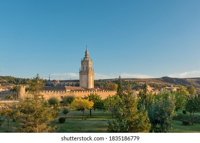 Cathedral and defense wall of the city Burgo de Osma, Soria province, Spain.