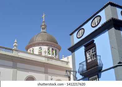 cathedral dome with blue house.. la laguna. tenerife
