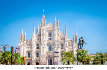 Cathedral Duomo di Milano  in Square Piazza Duomo at morning, Milan, Italy