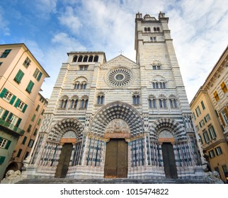 Cathedral and famous in the city center in Genoa Italy, Cattedrale di San Lorenzo