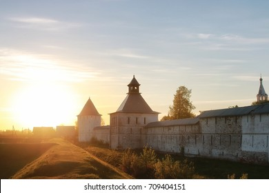 cathedral fortress medieval Christian era at sunset on sunny day