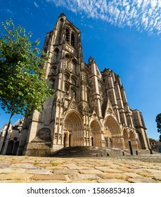 Cathedral from the ground in Bourges, Centre-Val de Loire, France
