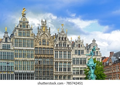 Cathedral, guildhouses Brabo fountain and Grote Markt, main square of Antwerp, Belgium