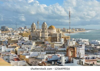 Cathedral of the Holy Cross in Cadiz. Architectural landmark on the Atlantic coast of Andalusia in Spain.