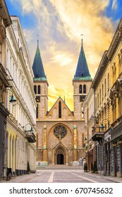 The Cathedral of the Holy Heart of Jesus in the Old City of Sarajevo, Bosnia and Herzegovina