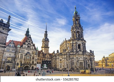 Cathedral of the Holy Trinity, previously the Catholic Church of the Royal Court of Saxony, called in German Katholische Hofkircheand Royal Castle in Dresden, Germany