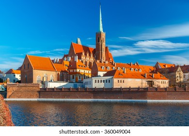 Cathedral Island or Ostrow Tumski with church of the Holy Cross and St. Bartholomew in the morning in Wroclaw, Poland