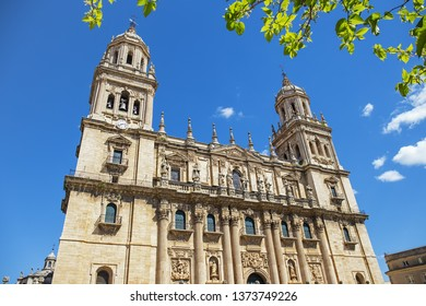 Cathedral of Jaen in the frame of green leaves, Andalusia, Spain