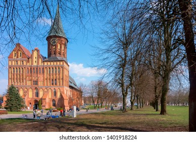 Cathedral in Kaliningrad, Cathedral of our lady and St. Adalbert, brick Gothic, Kaliningrad, Russia, April 6, 2019