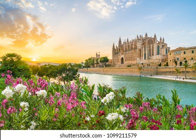 Cathedral La Seu at sunet time, Palma de Mallorca islands, Spain