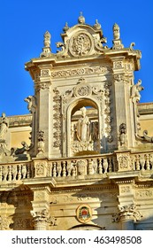 The Cathedral of Lecce in Italy with its Baroque at sunset.