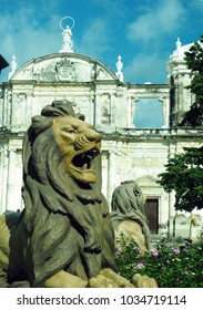 Cathedral of Leon Nicaragua lion statue in fountain Central America