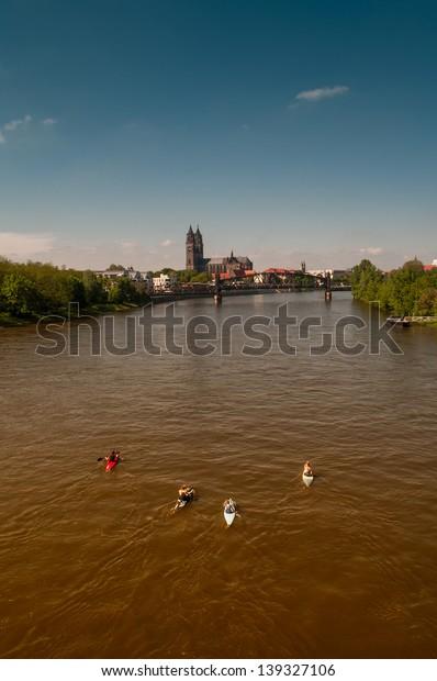 Cathedral of Magdeburg at river Elbe, Germany