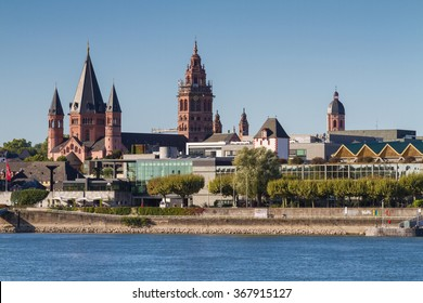 Cathedral of Mainz at the rhine river, Germany