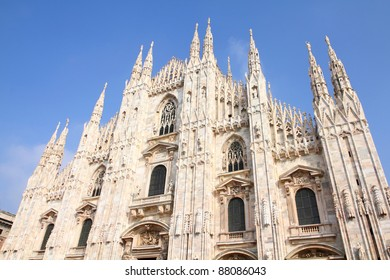Cathedral of Milan. Catholic church in Italy. Gothic facade.