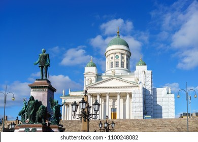 Cathedral and monument to Russian Emperor Alexander II in the Old Town of Helsinki, Finland
