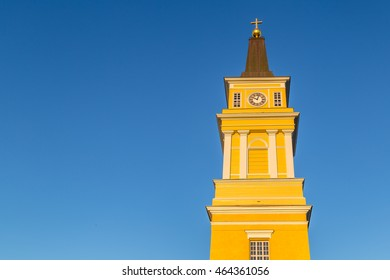 Cathedral near the centre of Oulu, Finland in the late evening sun: a popular place to visit for tourist