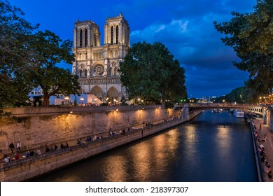 The Cathedral of Notre Dame de Paris and Seine River in the Evening, Paris, France