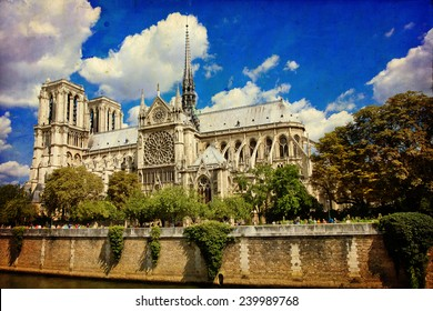 The Cathedral of Notre Dame de Paris in vintage style, France