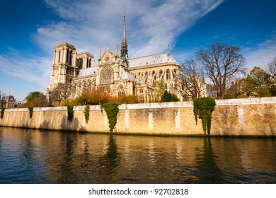 Cathedral of Notre Dame de Paris sunny autumn afternoon