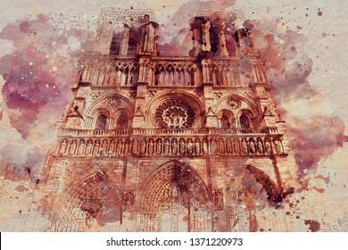 Cathedral Notre dame Paris art imitation of watercolor.