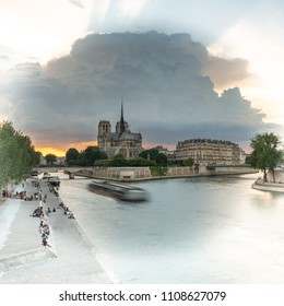 Cathedral Notre Dame and Seine, Paris