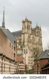 The Cathedral of Notre-Dame in Amiens city, France, side view