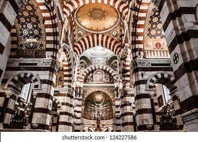 Cathedral Notre-Dame-de-la-Ga rde in Marseille, France, Europe  ( HDR image )
