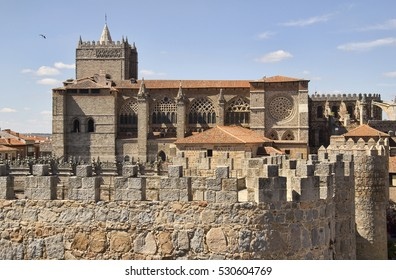 Cathedral and the old city walls in the city of Avila, Spain