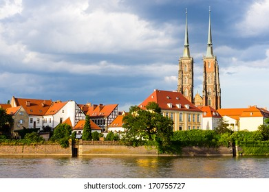 Cathedral on the Tumski island in Wroclaw, Poland