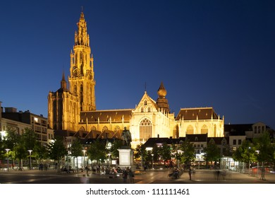Cathedral of Our Lady in Antwerp by night