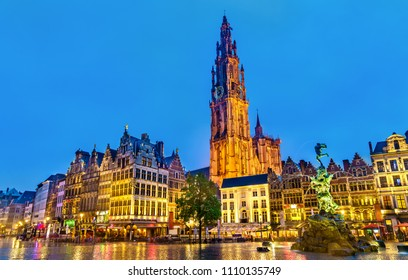The Cathedral of Our Lady and the Silvius Brabo Fountain on the Grote Markt Square in Antwerp - Flanders, Belgium