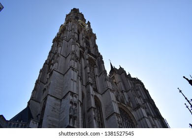 Cathedral of Our Lady, Town Hall, Great Market Square, Brabo Fountain of Antwerp, Belgium.