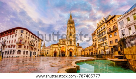 cathedral oviedo spain founded by king stock photo edit now