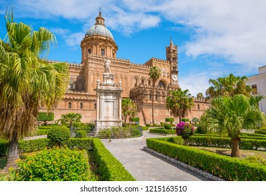 The Cathedral of Palermo with the Santa Rosalia statue and garden. Sicily, southern Italy.