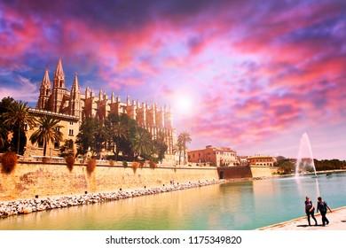 Cathedral of Palma de Majorca at sunset