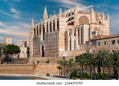 Cathedral of Palma de Mallorca or La Seu against blue sunny sky, was built on a cliff rising out of the sea. Exterior Gothic Roman Catholic church. Majorca, Balearic Islands. Spain