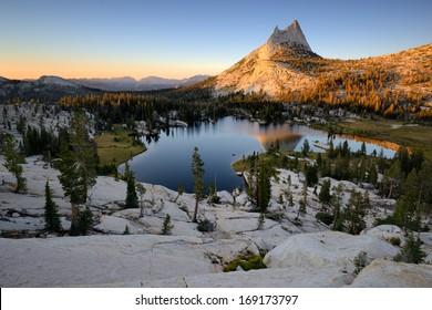 Cathedral Peak and Upper Cathedral Lake, Yosemite National Park, Sierra Nevada, California, USA