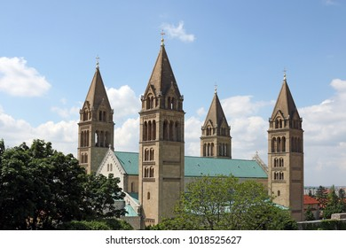 the Cathedral of Pecs bell towers cityscape