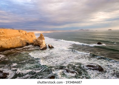 Cathedral Rock Formation, Peruvian Coastline, Rock formations at the coast, Paracas National Reserve, Paracas, Ica Region, Peru