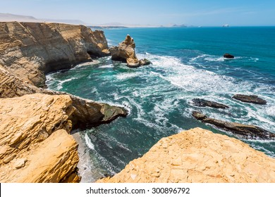 Cathedral Rock Formation, Peruvian Coastline, Rock formations at the coast, Paracas National Reserve, Paracas, Ica Region, Peru