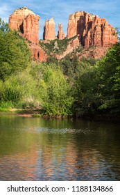 Cathedral Rock reflection in Sedona, Arizona at sunset time