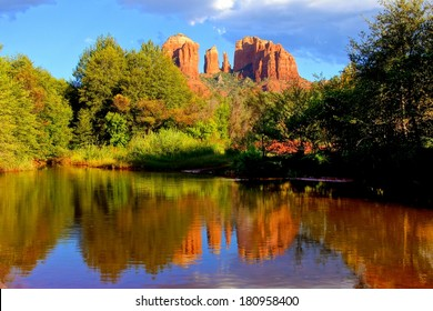Cathedral Rock with reflections near sunset, Sedona, Arizona, USA