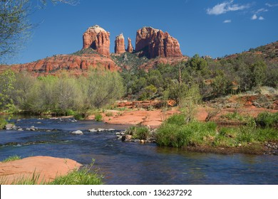 Cathedral Rock In Sedona Arizona Viewed From Red Rock Crossing Along Oak Creek Canyon